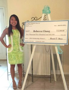 Ms. Rebecca Chang - 2015 Weiss Scholarship Winner